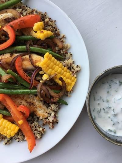 Quinoa med kylling og grønt