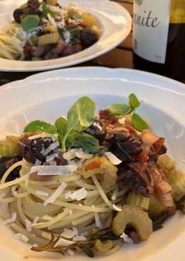 Spagetti & snegleragout med rødvin