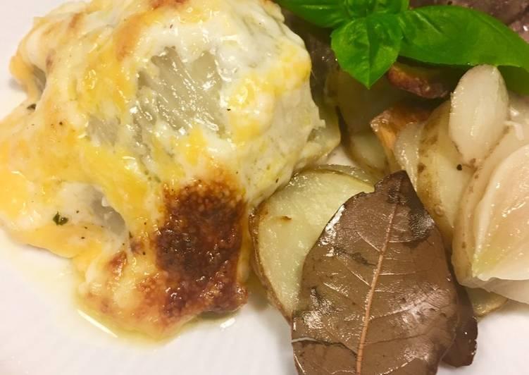 Stegt kalvenyre med gratinerede fennikel, bouillonkartofler og glaserede gulerødder