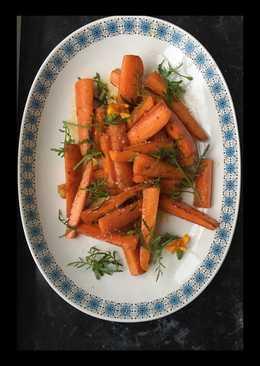 Gulerødder med hvidløg og appelsintagetes