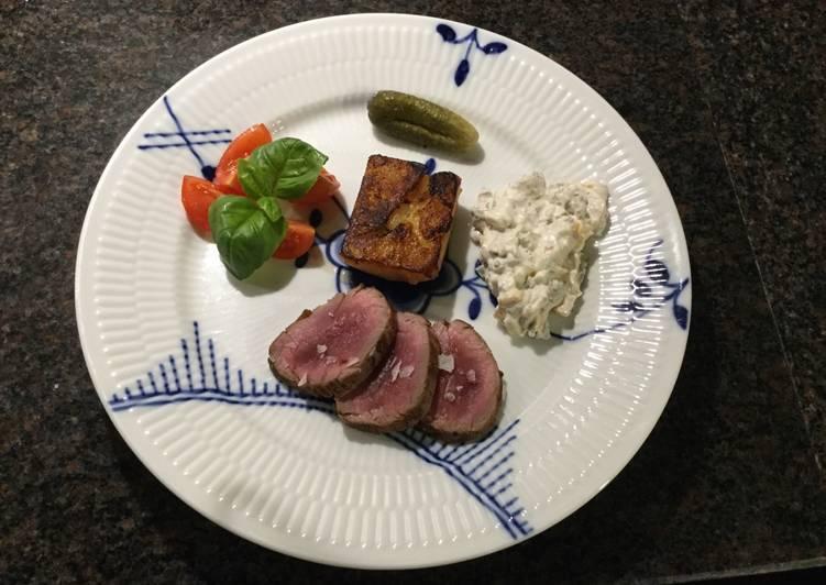 Sortfodssvinemørbrad med kartoffelfondant og sauce tatar