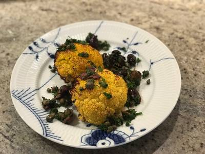 Blomkål - bagt med lidt olivensalsa