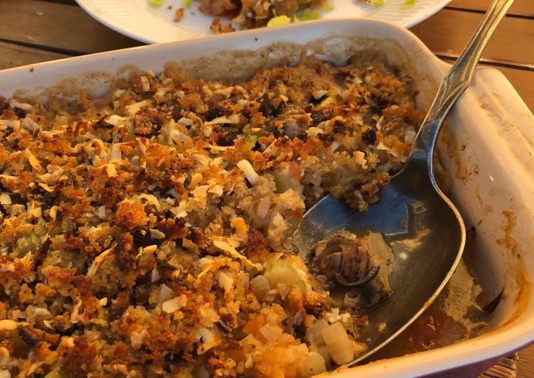 Gratineret ragout af danske snegle og cider