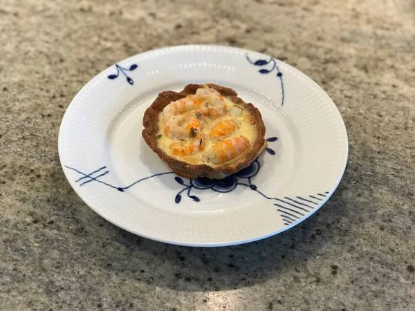 Tærte med hummerhaler og pære