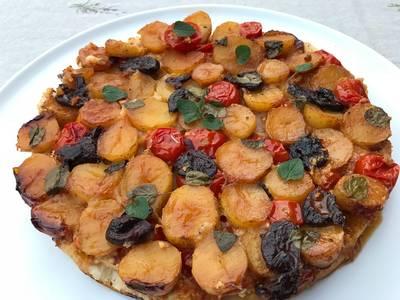 Tomat og kartoffel tarte tatin - Rimmers Køkken