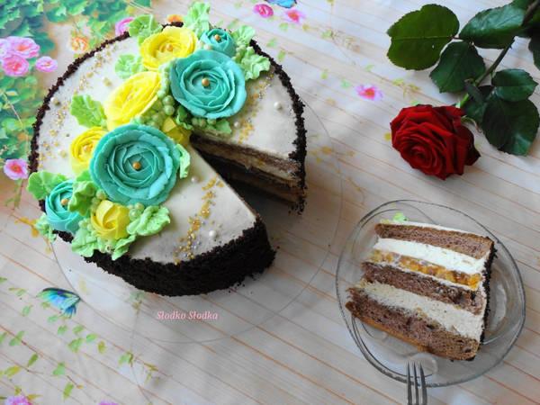 Tort Urodzinowy Biała Czekolada-Capuccino z Wkładką Brzoskwiniową