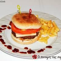 Cheeseburgers με καραμελωμένα κρεμμύδια