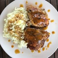 Κοτόπουλο ψημένο στο φούρνο με φανταστική σαλτσούλα!! 🍗🍋
