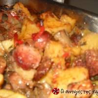 Ανάμεικτα Λαχανικά στο φούρνο με Λουκάνικο