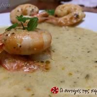 Ψαρόσουπα βελουτέ με γαρίδες και ούζο
