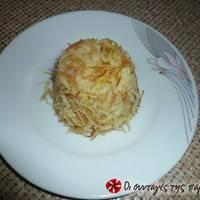 Ρύζι με σαφράν, τηγανητό φιδέ και ρόδι