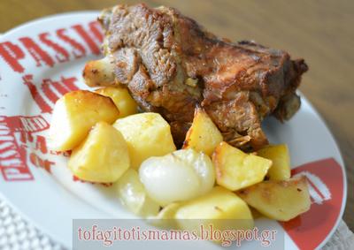 Κατσικάκι λεμονάτο στο φούρνο με πατάτες