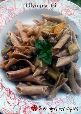 Πέννες ζέας με λαχανικά και σταφίδες