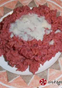 Risotto παντζάρι-gorgonzola. Ρουμπινί και υπέροχο
