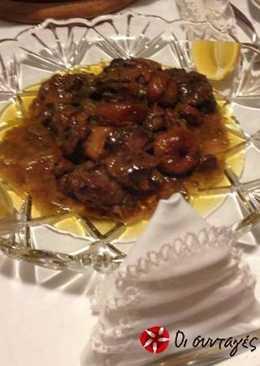 Αγριογούρουνο τηγανιά με πράσα και σύκα
