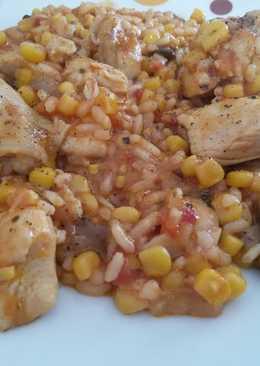 Κοτόπουλο με λαχανικά και ρύζι στο τηγάνι