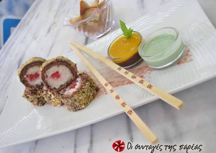 Σοκολατένιο σούσι με φράουλα