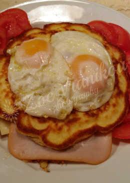 Pancakes αλμυρά με ζαμπόν, τυρί, αυγά