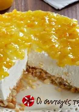 Cheesecake πορτοκάλι σε βάση μπακλαβά
