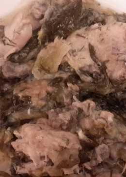 Κοτόπουλο φρικασέ με μαρούλια
