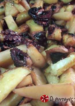 Χταπόδι στο φούρνο (στο φούρνο ;;;) με πατάτες