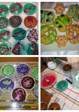 #διακόσμηση με γλάσσο άχνης για Καπ κέικς, κουλουράκια ή μπισκότα