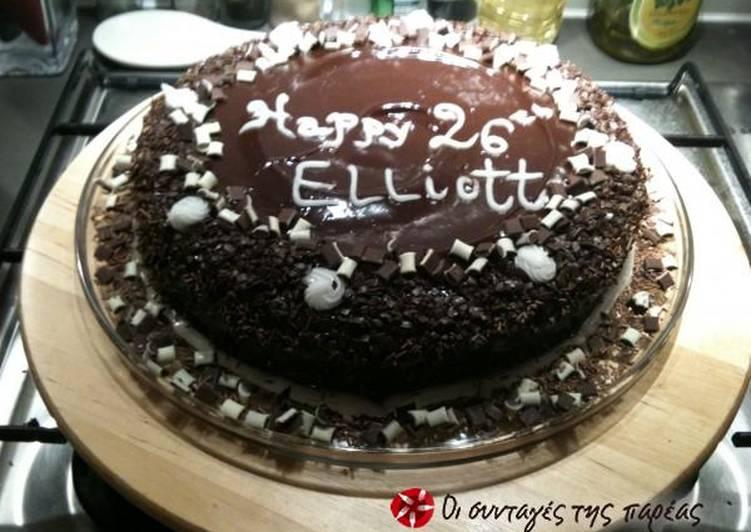Κέικ σοκολάτα με επικάλυψη από 2 είδη σοκολάτας