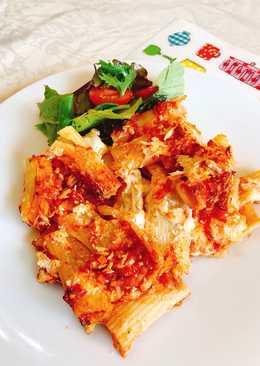 Rigatoni al forno με 3 τυριά