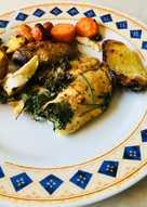 Ψάρι ταλάπια με πατάτες και καρότο στον φούρνο