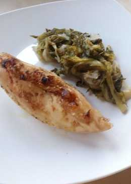 Κοτόπουλο στο φούρνο με χόρτα