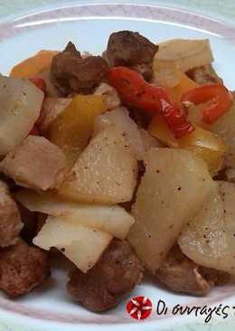 Μπουκίτσες σόγιας στο φούρνο με πατάτες