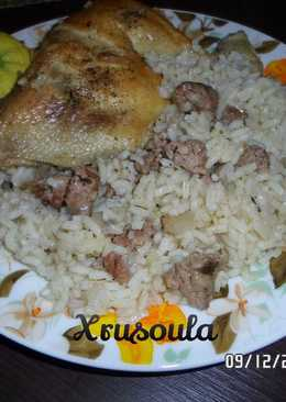 Κοτόπουλο με ρύζι και λουκάνικο