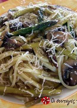 Ζυμαρικά με σπαράγγια και μανιτάρια