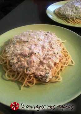Μακαρονάδα με λευκή σάλτσα τόνου και ροκφόρ
