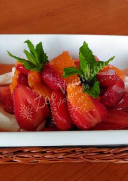 Φράουλα & πορτοκάλι σαλάτα με σιρόπι εσπεριδοειδών και φρέσκο δυόσμο