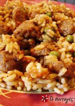 Ρύζι με σόγια και αρακά