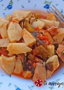 Κολοκάσι με χοιρινό και σέλινο