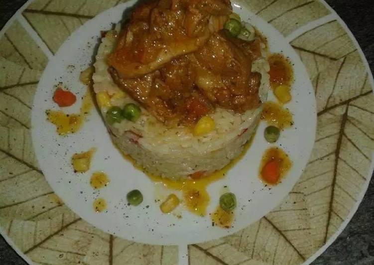 Πολύχρωμο χοιρινό με ριζότο λαχανικών και σάλτσα lime - πορτοκάλ