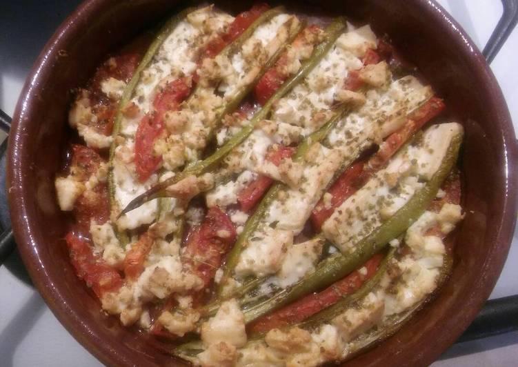 Πιπεριές κέρατο με φέτα στο φούρνο