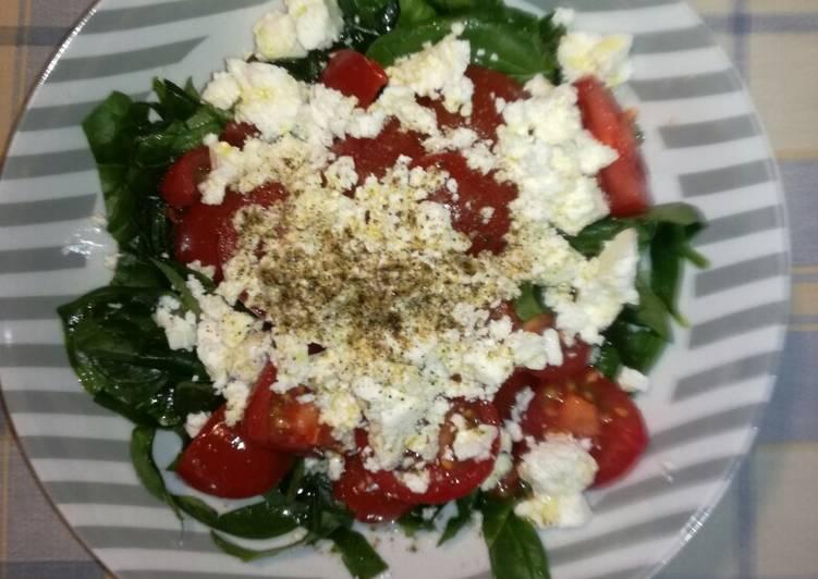 #Σαλάτα baby σπανάκι, ντοματίνια, φέτα.! #Ελληνική