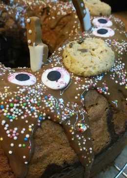 Κέικ πικρής σοκολάτας με γλάσο και μπισκότα Chocolate Cips Cookies!!!!