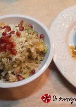 Σαλάτα με ρέβα, λάχανο, γραβιέρα, πράσο, πορτοκάλι