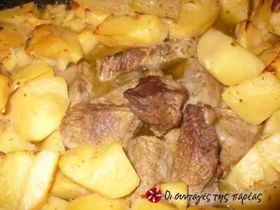 Μοσχαράκι με πατάτες στο φούρνο