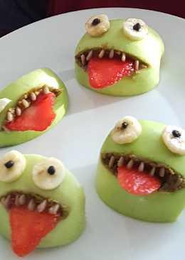 Πράσινα τερατάκια από μήλο (Halloween Green Monsters)