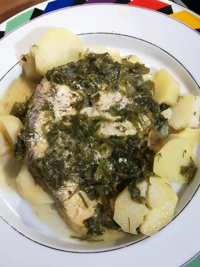 Ψάρι φέτα στην κατσαρόλα με πατάτες
