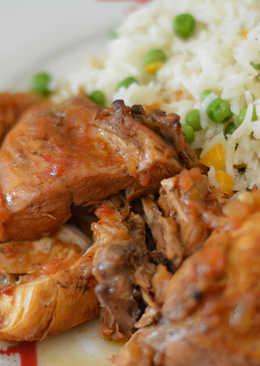 Κόκορας Κρασάτος με πολύχρωμο ρύζι