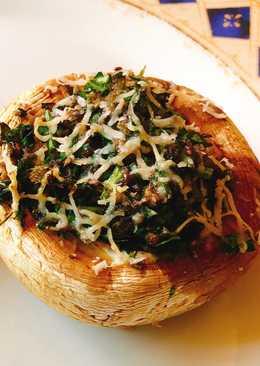 Γεμιστά μανιτάρια με τυρί και αρωματικά, ψημένα στον φούρνο