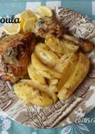 Κυριακάτικο κοτόπουλο λεμονάτο με πατάτες