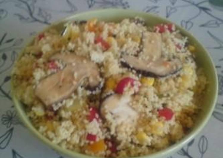 Αραβικό Κουσκους με μανιτάρια σιτάκε και πιπεριές