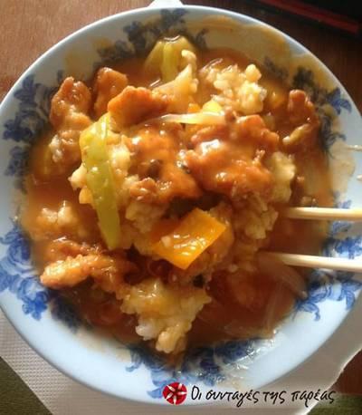 Παραδοσιακή κινέζικη συνταγή γλυκόξινου κοτόπουλου